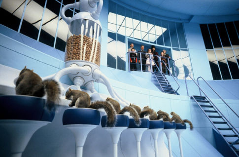 Tim Burton\'s squirrels prepare to deal with Veruca Salt